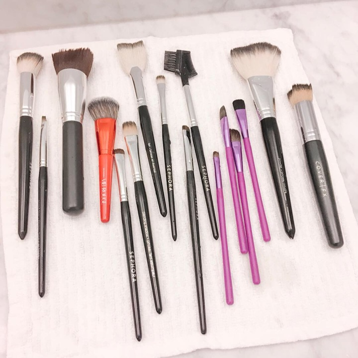 Clean those makeup brushes!