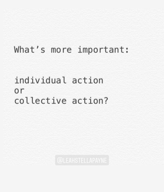 What's more important: individual action or collective action?